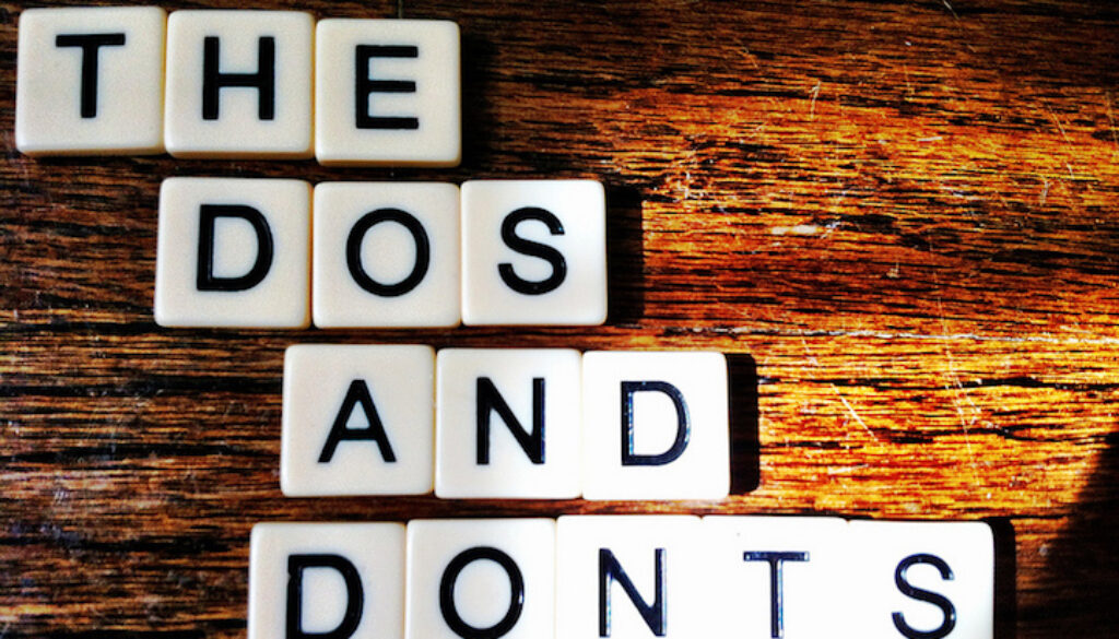 """Scrabble pieces spelling out """"the dos and don'ts"""" of working with bloggers"""