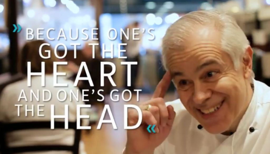 """Costas Georgiou puts a finger to his forhead with the caption """"On'es got the heart and one's got the head"""""""