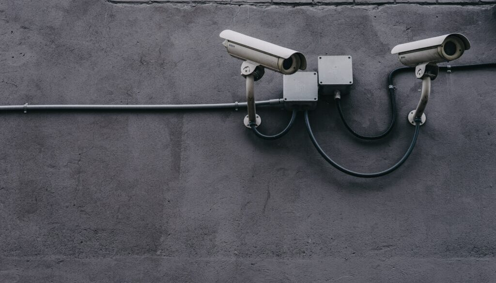 Security cameras, representing payment protection,